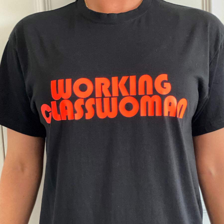 working class woman womens red on black tshirt